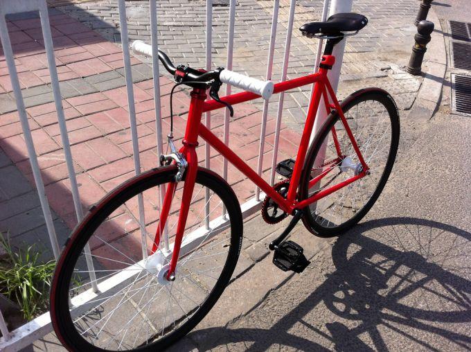 Red fixed-gear bike