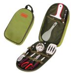 Camp Kitchen Utensil Organizer Travel Set - Portable 8 Piece BBQ Camping Cookware Utensils Travel Kit with Water Resistant Case