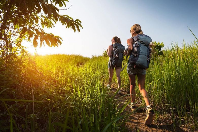 2 girls on a backpacking trip