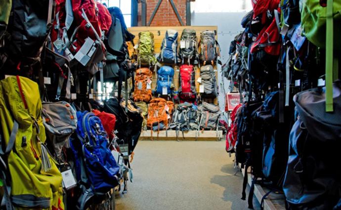 Store full of backpacks