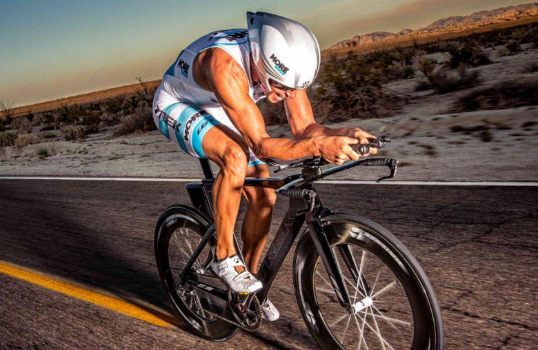 Cyclist conquering a terrain