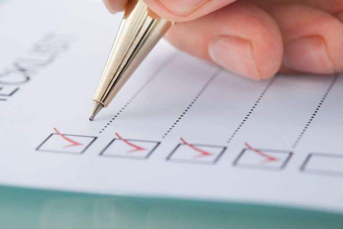 writing in a checklist