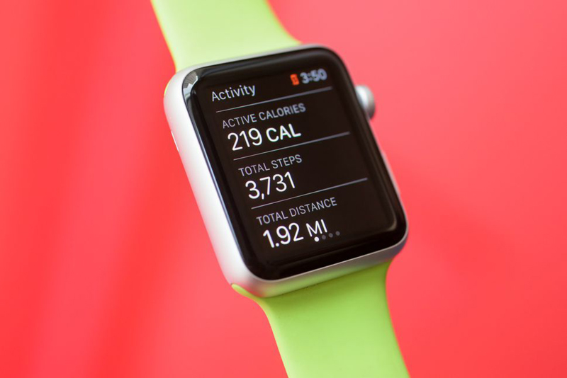 Apple watch showing distance