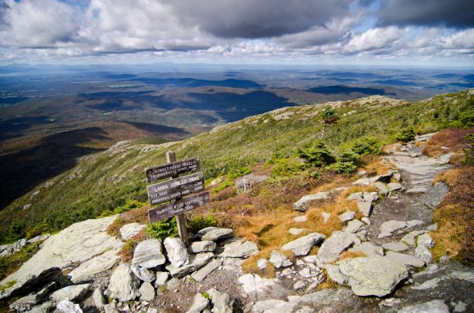 hiking trail at exposed ridge