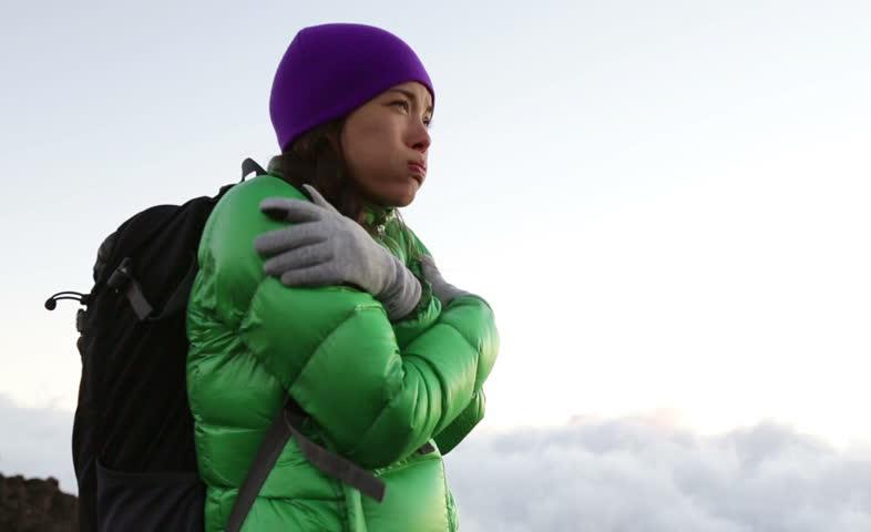 Hiker girl freezing cold