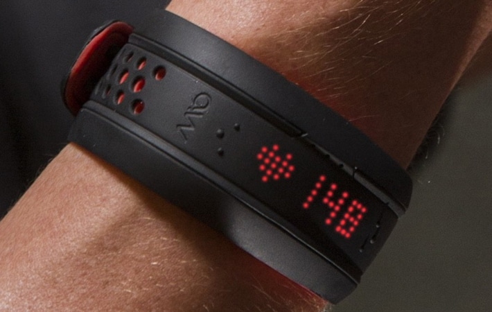 Fitness tracker showing heart rate