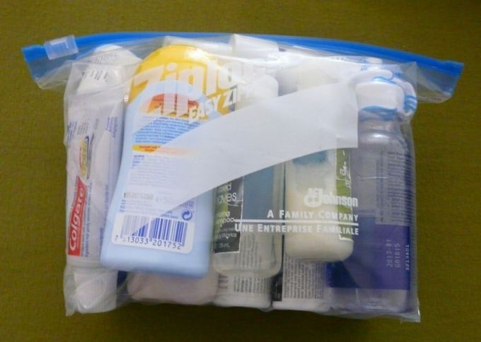 scented toiletries packed in a doubled bag