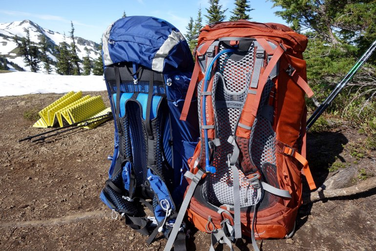 Two hiking osprey backpacks