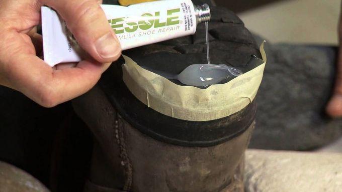 repairing boots using glue
