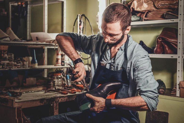 repairing soles of a shoe