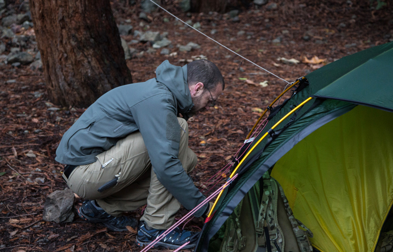 setting up tent alone