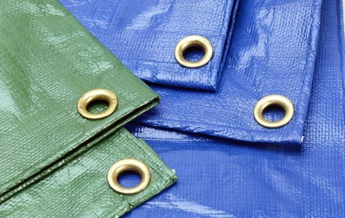 blue and green tarps