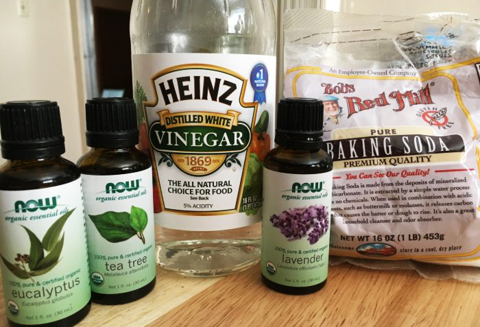 Vinegar soda and eucalyptus for cleaning