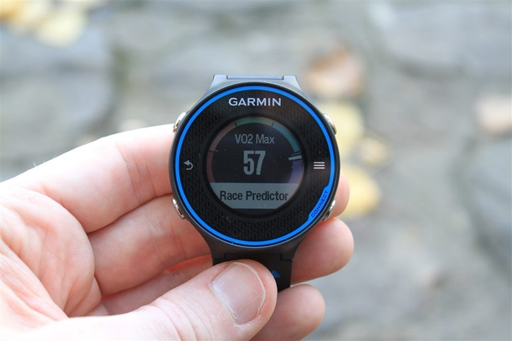 Fitness tracker showing vo2max