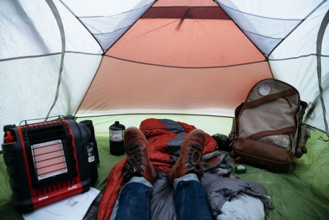 warming up in tent with tent heater
