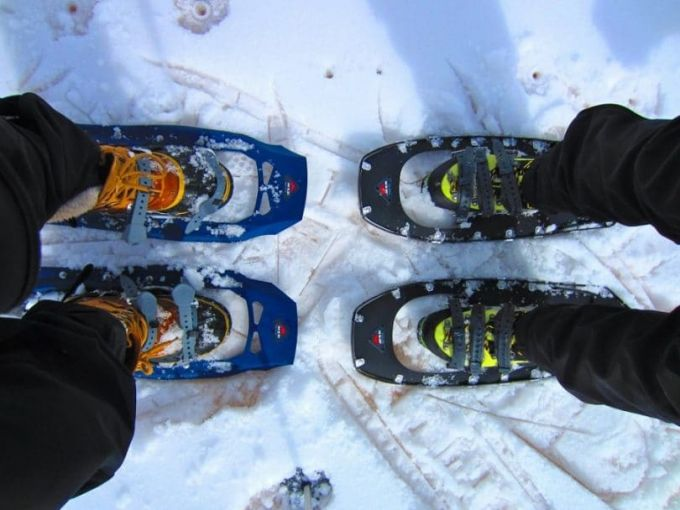 Snowshoes floating on snow