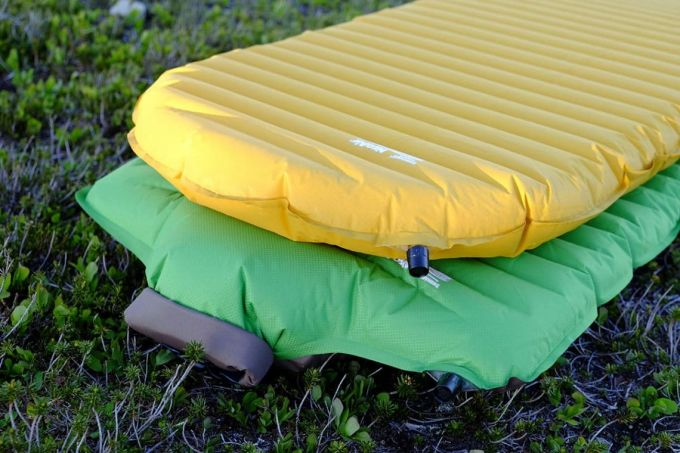 yellow and green air pads