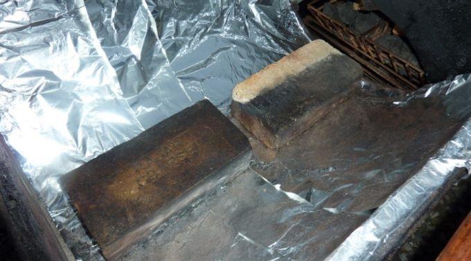 heating bricks to keep the food warm