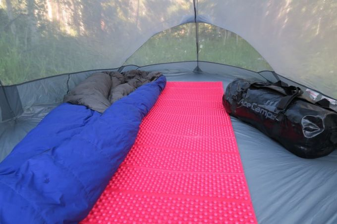 closed cell foam pad in a tent