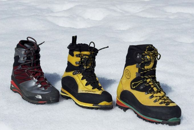 mountaineering boots on the snow