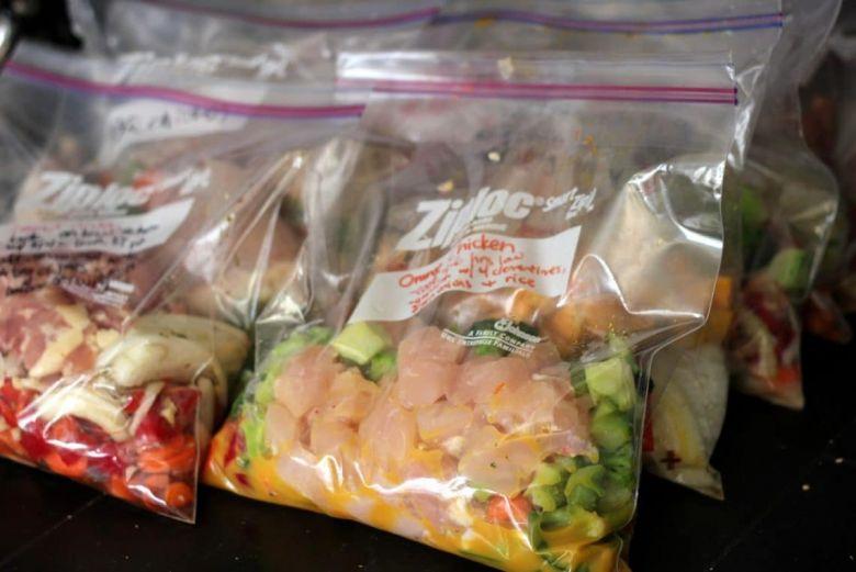 food packed in ziploc bags