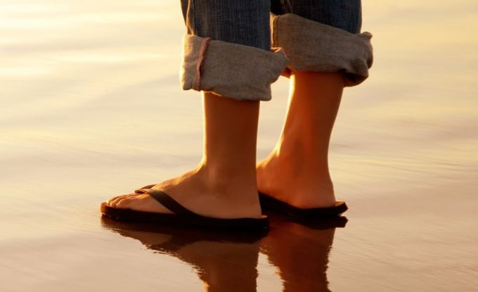 flip flop on water