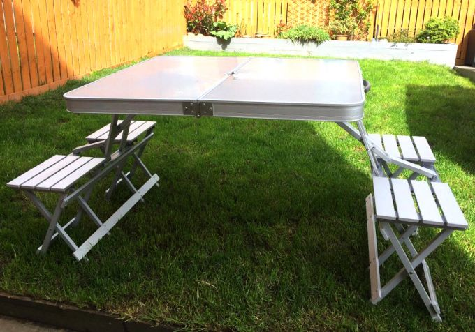 folding table in back yard
