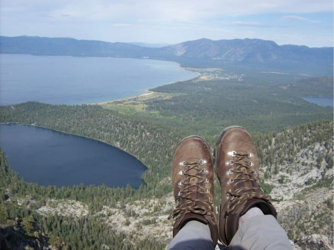 beautiful view with hiker in leather boots