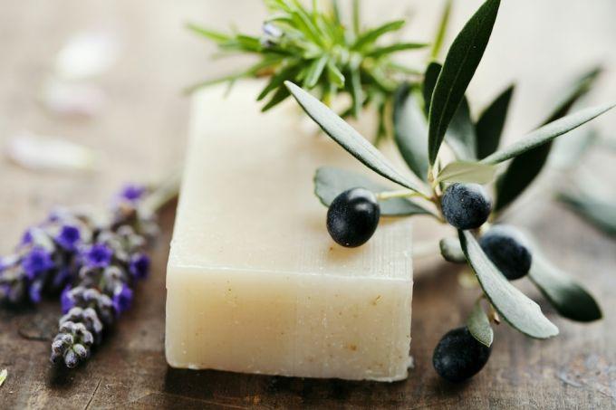 closeup of natural herbal soap