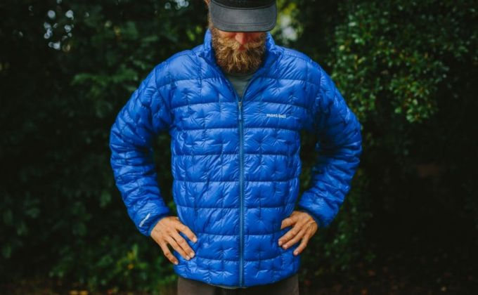 man in a blue down jacket