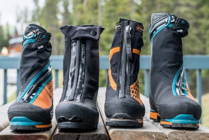 four different mountaineering boots