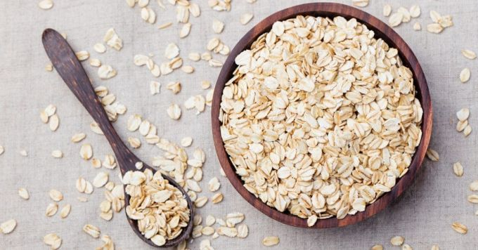 oats in a bowl and a spoon