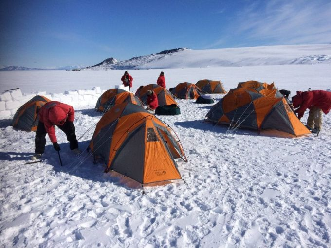 pitch tent on snow