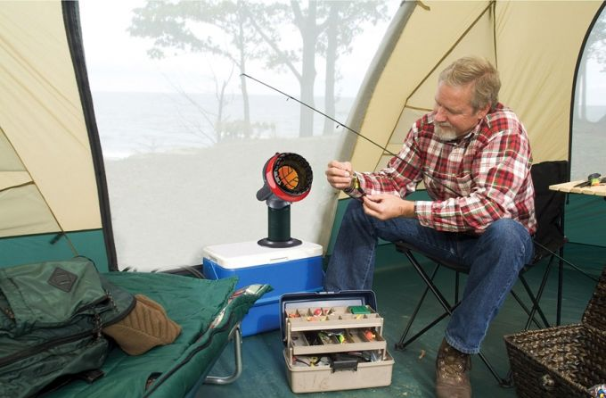 portable heater in tent for fishing