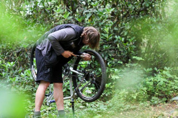 repairing bike outdoor