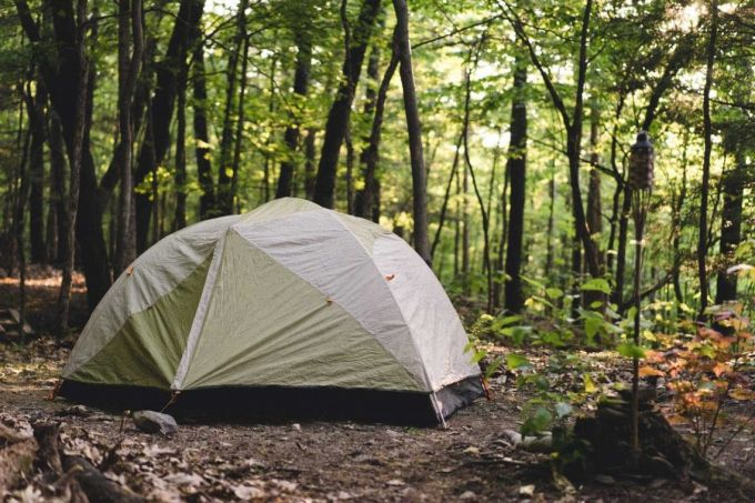 setting up tent in forest