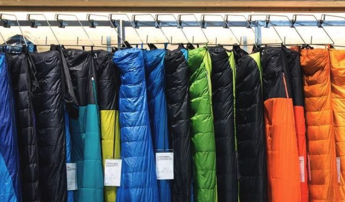sleeping bags in a shop