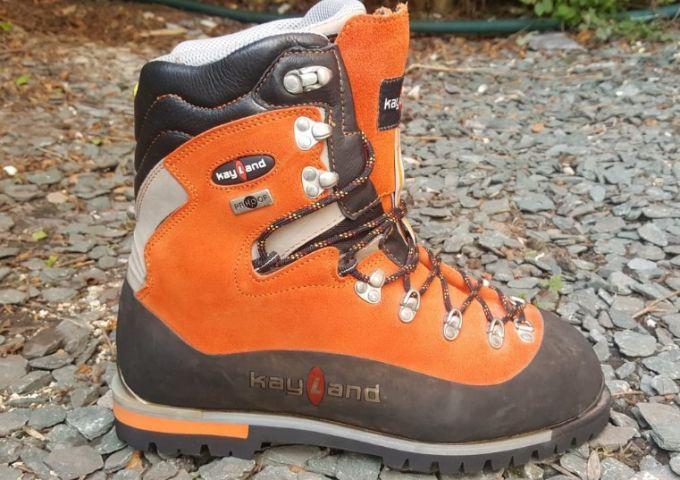 one orange single boot