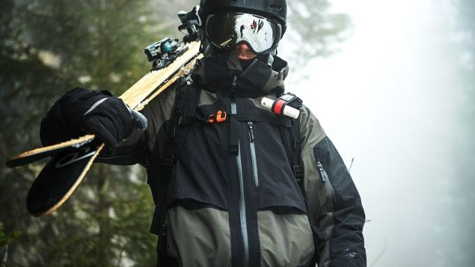 skier in a 5000 mm waterproof jacket