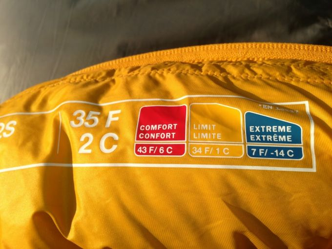 sleeping bag temperature rating
