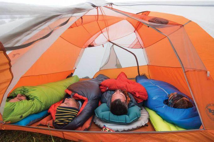sleeping in a tent outdoor
