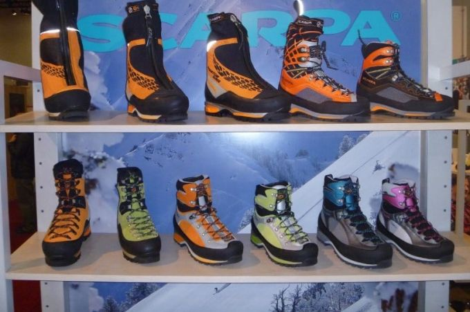 mountaineering boots in a store