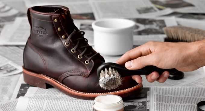 waxing and polishing leather boots