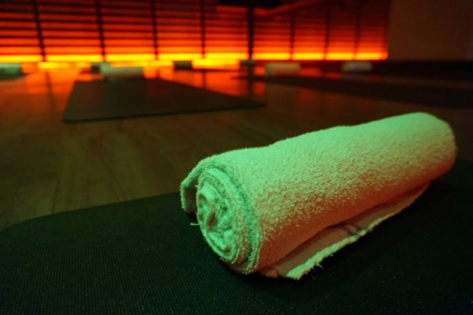 yoga towel in studio