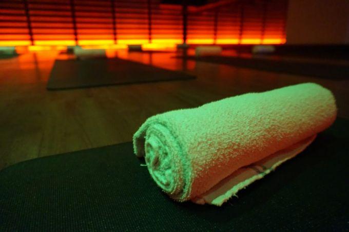 yoga towel in studio