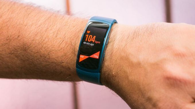 Image showing the Samsung Gear Fit 2 watch on a man's hand