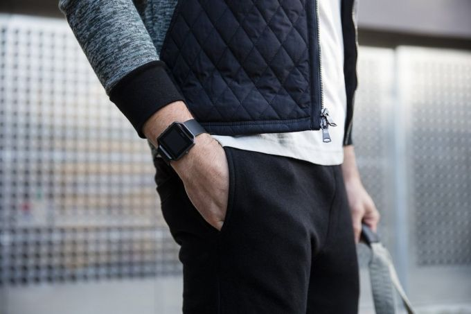 Image showing a man wearing Fitbit Blaze Smart Fitness Watch