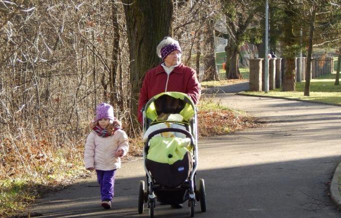 walking grandma with stroller