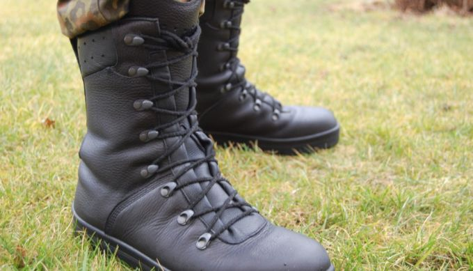 tactical boots on grass