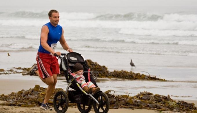 jogging on the beach with the stroller